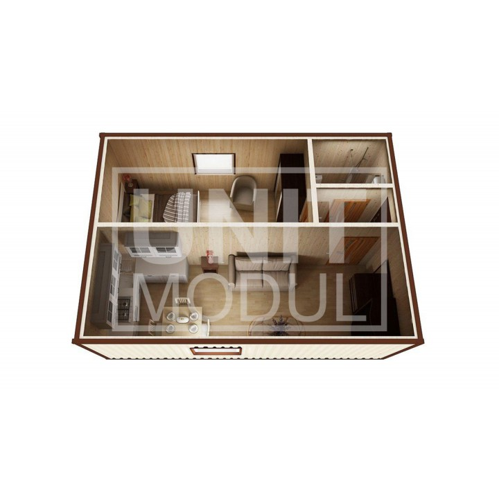 (МД-02) Модульный дом дачный из 2-х бытовок (блок-контейнеров) c душевой и прихожей недорого