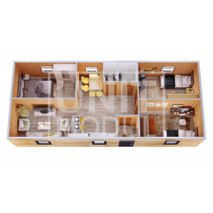 (МД-14) Модульный дом дачный из 2-х блок-контейнеров с прихожей, спальнями и гостиной
