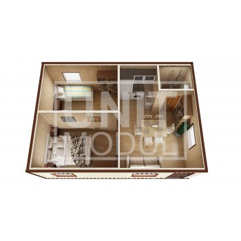 (МД-05) Модульный дом дачный из 2-х бытовок (блок-контейнеров) с раздельными спальнями