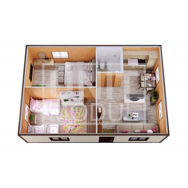 (МД-10) Модульный дом дачный из двух бытовок (блок-контейнеров) с раздельными и большой кухней