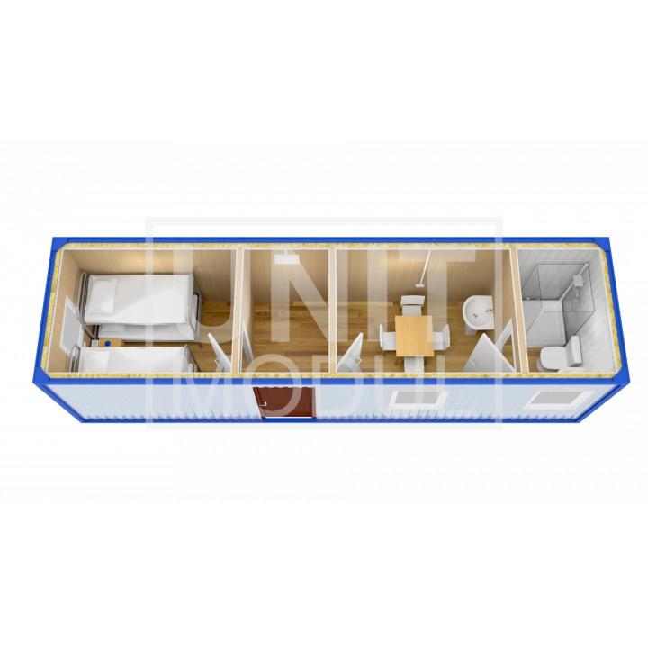 (БЖ-13) Бытовка металлическая (блок-контейнер) жилая с кухней и сан узлом