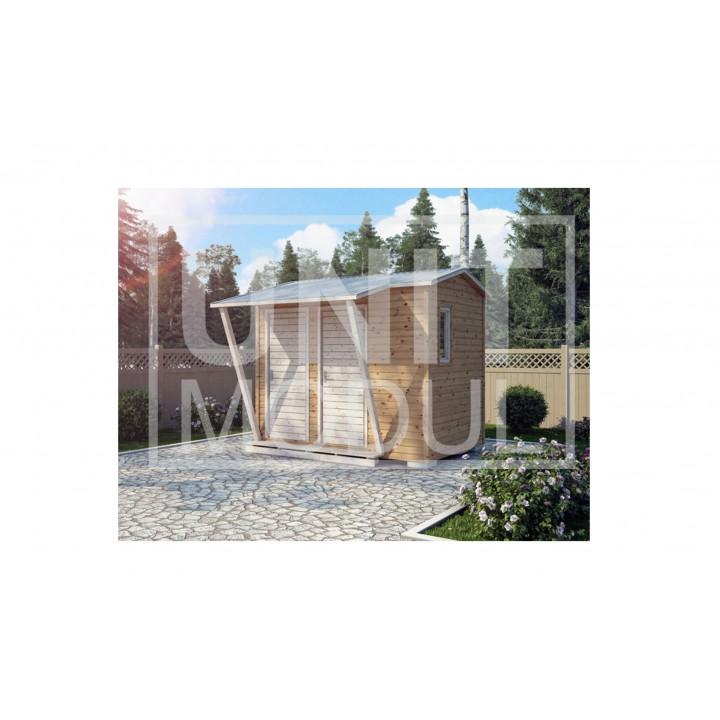 (ХБ-13) Хозблок туалет душ с навесом двухскатная крыша 3*2 недорого
