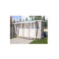(ХБ-20) Хозблок туалет душ с навесом двухскатная крыша 4*2