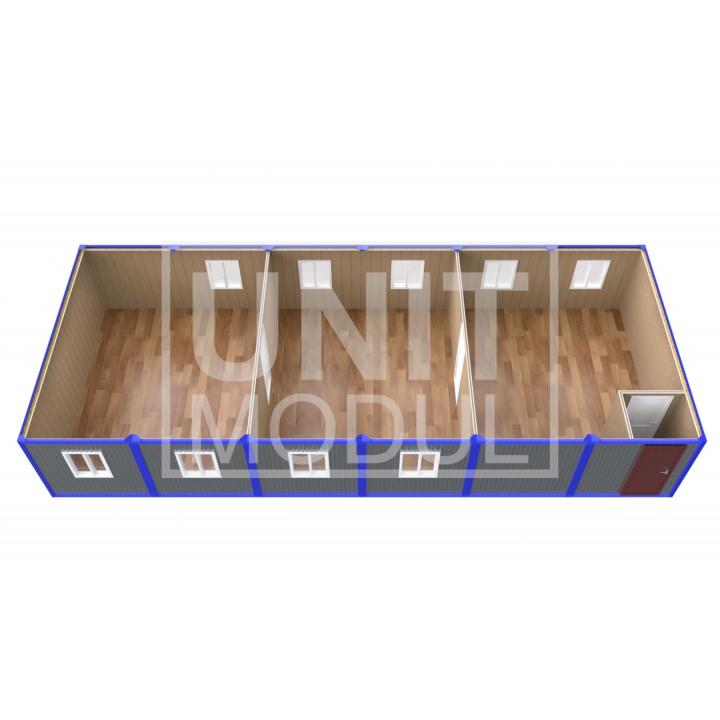 (ПЗ-62) Модульный штаб из 6-ти бытовок (блок-контейнеров) с тамбуром и залами