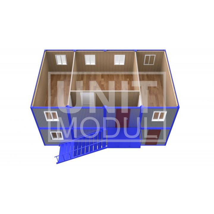 (ПЗ-81) Модульный штаб из 8-ми бытовок (блок-контейнеров) двухэтажный недорого