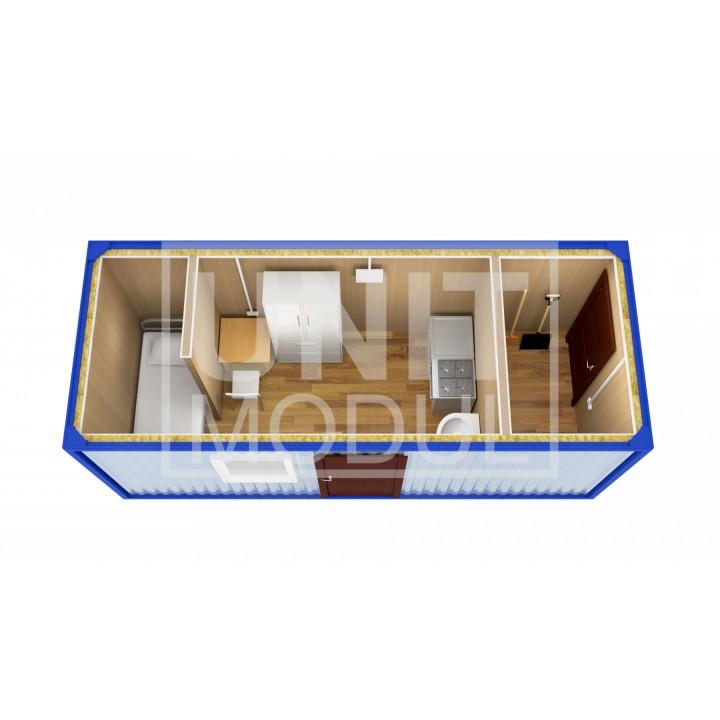 (БЖ-05) Бытовка металлическая (блок-контейнер) жилая с хоз помещением