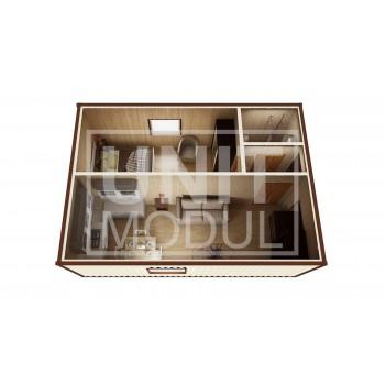 (МД-02) Модульный дом дачный из 2-х бытовок (блок-контейнеров) c душевой и прихожей