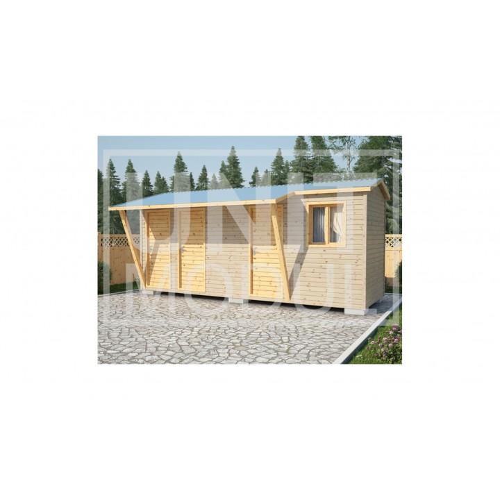 (ХБ-29) Хозблок туалет душ с навесом двухскатная крыша 6*2 недорого