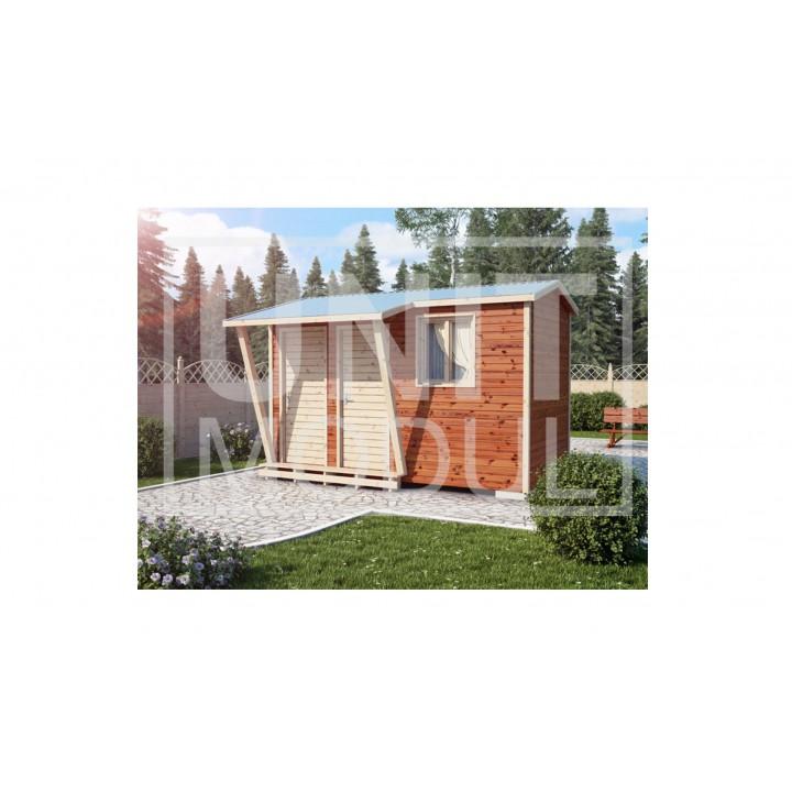 (ХБ-18) Хозблок с туалетом и навесом двухскатная крыша 4*2