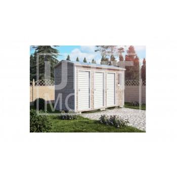 (ХБ-17) Хозблок с туалетом и душем крыша двухскатная 4*2