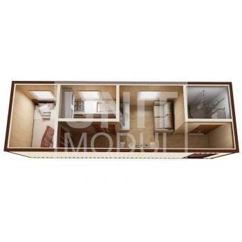 (БД-10) Бытовка металлическая (блок-контейнер) дачная с кухней и душевой