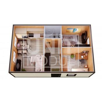 (МД-11) Модульный дом дачный из 2-х бытовок (блок-контейнеров) с раздельными спальнями и гостиной