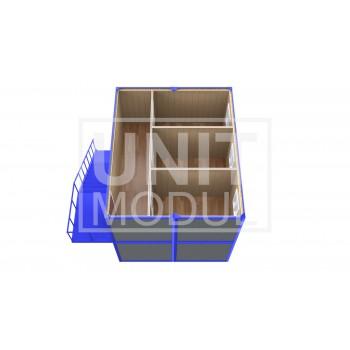 (ПЗ-44) Модульный штаб из 4-х бытовок (блок-контейнеров) двухэтажный