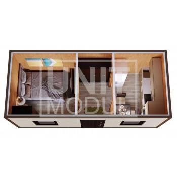 (БД-12) Бытовка металлическая (блок-контейнер) дачная с прихожей и комнатой