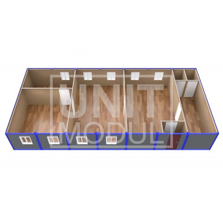 (ПЗ-70) Модульный штаб из 7-ми бытовок (блок-контейнеров) с кабинетами и залом для совещаний