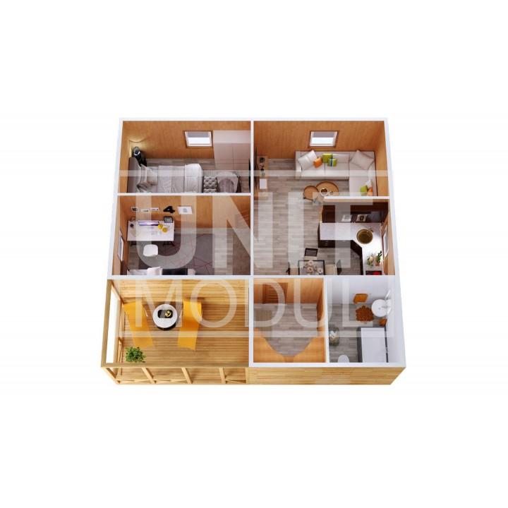 (МД-15) Модульный дом дачный из 3-х бытовок (блок-контейнеров) с верандой, спальнями и кухней
