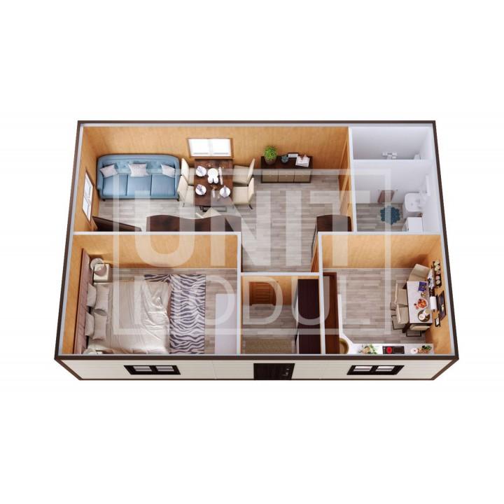 (МД-13) Модульный дом дачный из 2-х бытовок (блок-контейнеров) с прихожей и зоной отдыха недорого