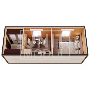 (БД-13) Бытовка металлическая (блок-контейнер) дачная с прихожей, кухней и комнатой