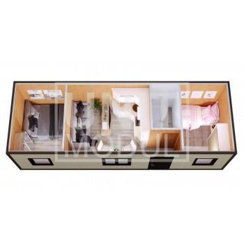(БД-15) Бытовка металлическая (блок-контейнер) дачная с гостиной и комнатами