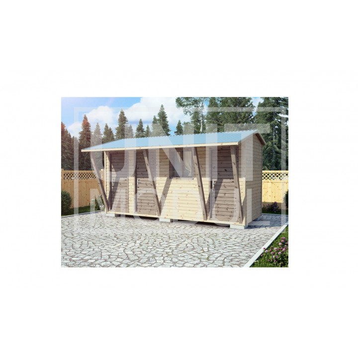(ХБ-25) Хозблок душ туалет с навесом двухскатная крыша 5*2