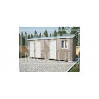 (ХБ-27) Хозблок с туалетом и душем двухскатная крыша 6*2