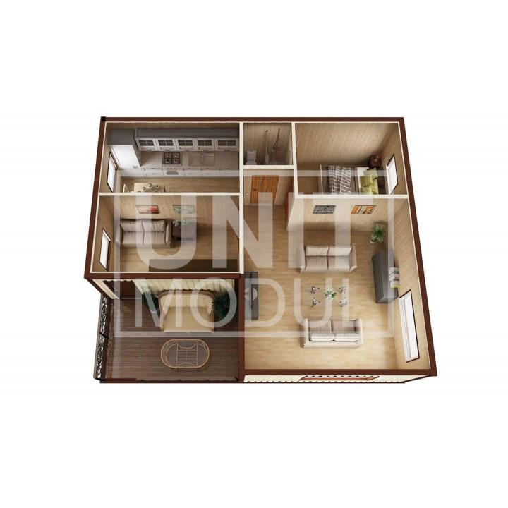 (МД-08) Модульный дом дачный из 3-х бытовок (блок-контейнеров) с крыльцом