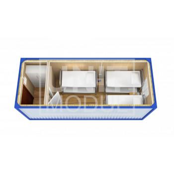 (БЖ-04) Бытовка металлическая (блок-контейнер) жилая с перегородкой