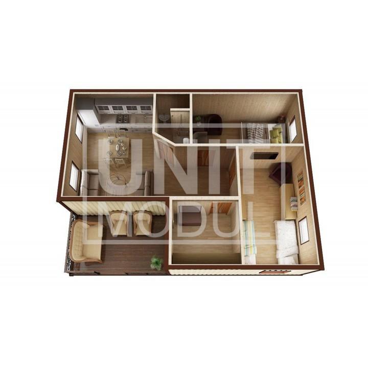 (МД-09) Модульный дом дачный из 3-х бытовок (блок-контейнеров) с крыльцом и прихожей недорого