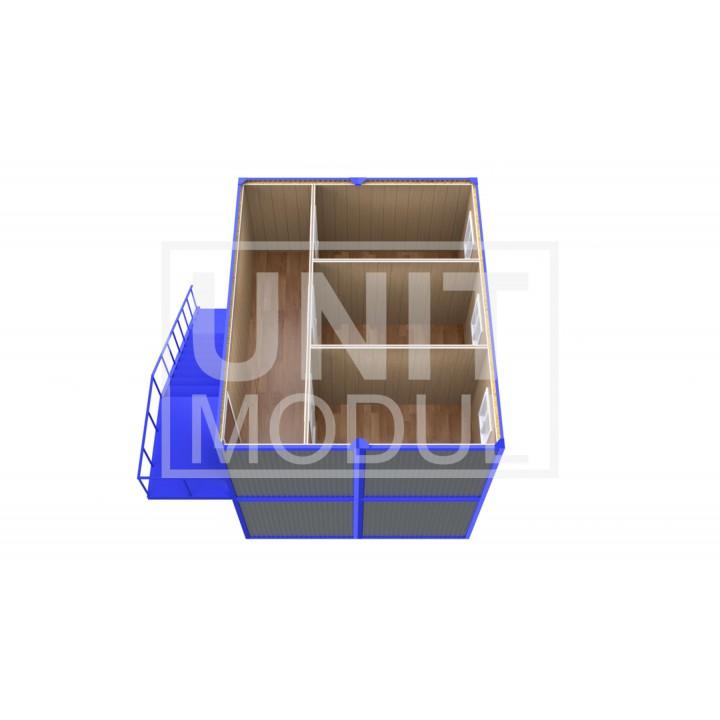 (ПЗ-44) Модульный штаб из 4х бытовок (блок-контейнеров) двухэтажный