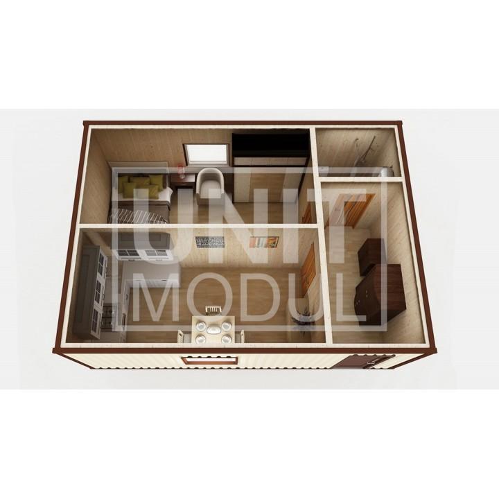 (МД-03) Модульный дом дачный из 2-х бытовок (блок-контейнеров) c душевой и гардеробной