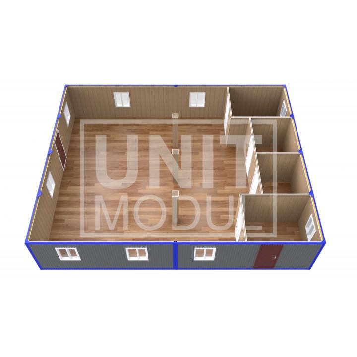 (ПЗ-80) Модульный штаб из 8-ми бытовок (блок-контейнеров) с кабинетами и залом для совещаний