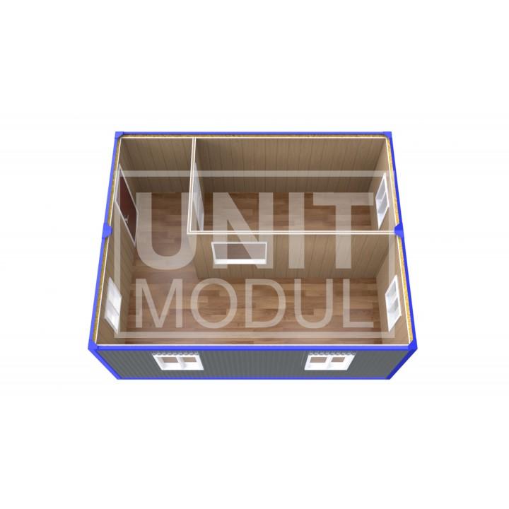 (ПЗ-12) Модульный штаб из двух бытовок (блок-контейнеров) с кабинетом