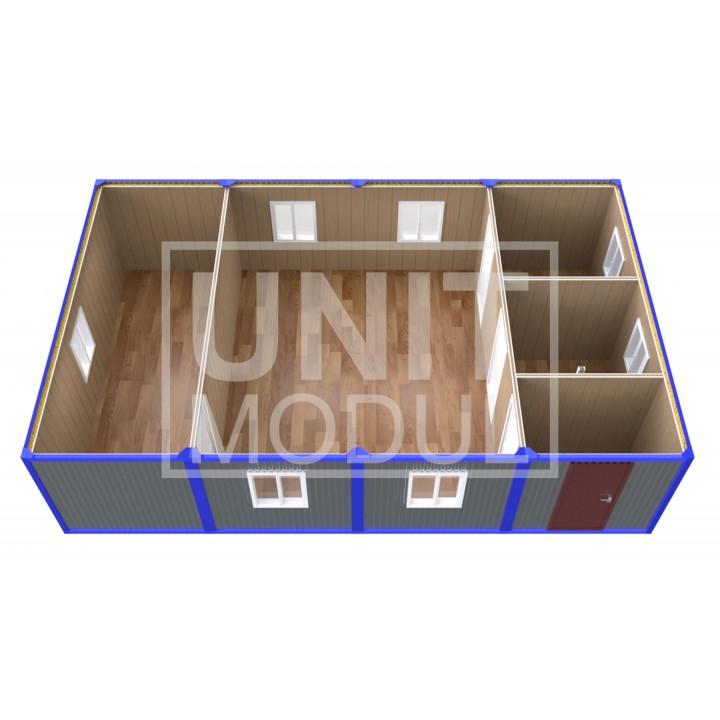(ПЗ-43) Модульный штаб из 4х бытовок (блок-контейнеров) с кабинетами и залом для совещаний