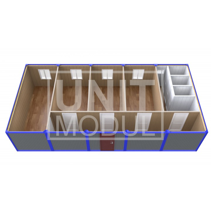 (ПЗ-51) Модульный штаб из 5ти бытовок (блок-контейнеров) с кабинетами и туалетами