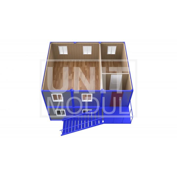 (ПЗ-63) Модульный штаб из 6-ти бытовок (блок-контейнеров) двухэтажный
