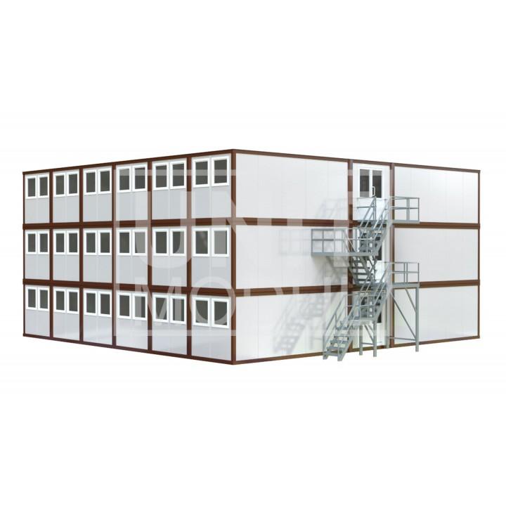 (МС-09) Модульное здание трехэтажное (сэндвич-панели) недорого