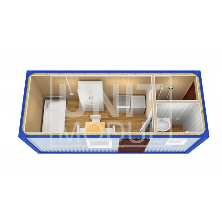 (БЖ-08) Бытовка металлическая (блок-контейнер) жилая с туалетом и хоз помещением