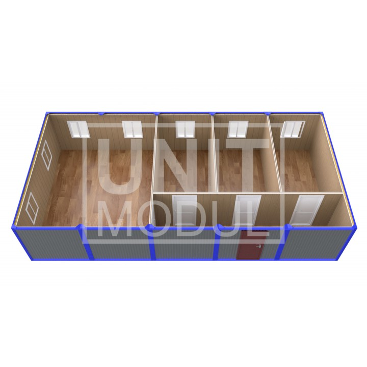 (ПЗ-52) Модульный штаб из 5-ти бытовок (блок-контейнеров) с кабинетами и залом для совещаний