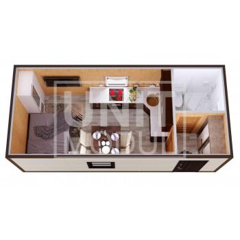(БД-14) Бытовка металлическая (блок-контейнер) дачная с гардеробной и душем
