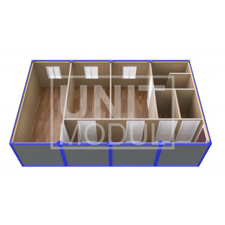 (ПЗ-43) Модульный штаб из 4х бытовок (блок-контейнеров) с кабинетами и туалетами
