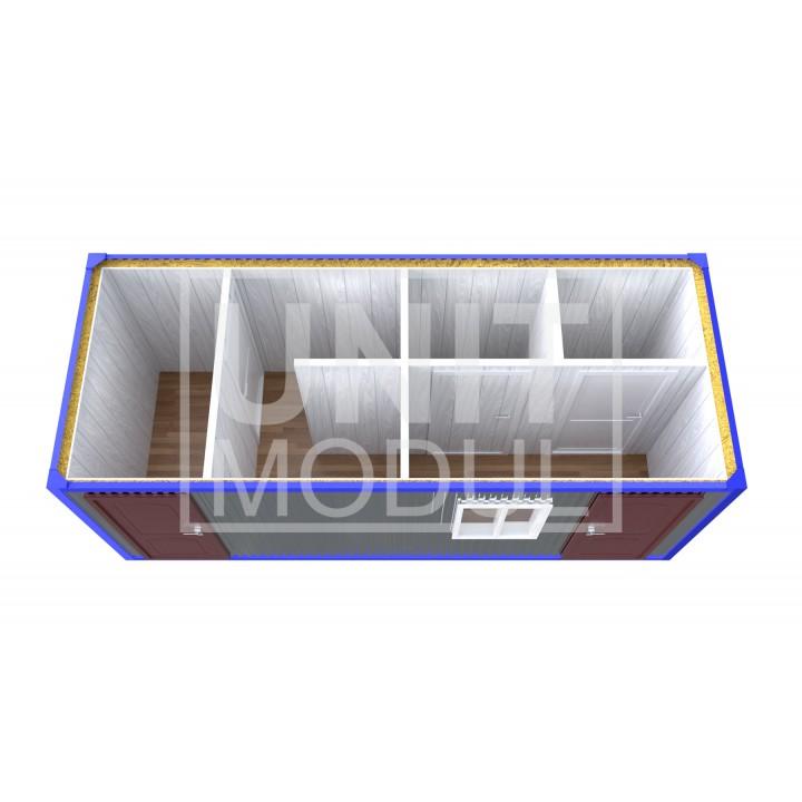 (СБ-12) Бытовка металлическая (блок-контейнер) сантехническая с тамбуром, душевой и туалетами