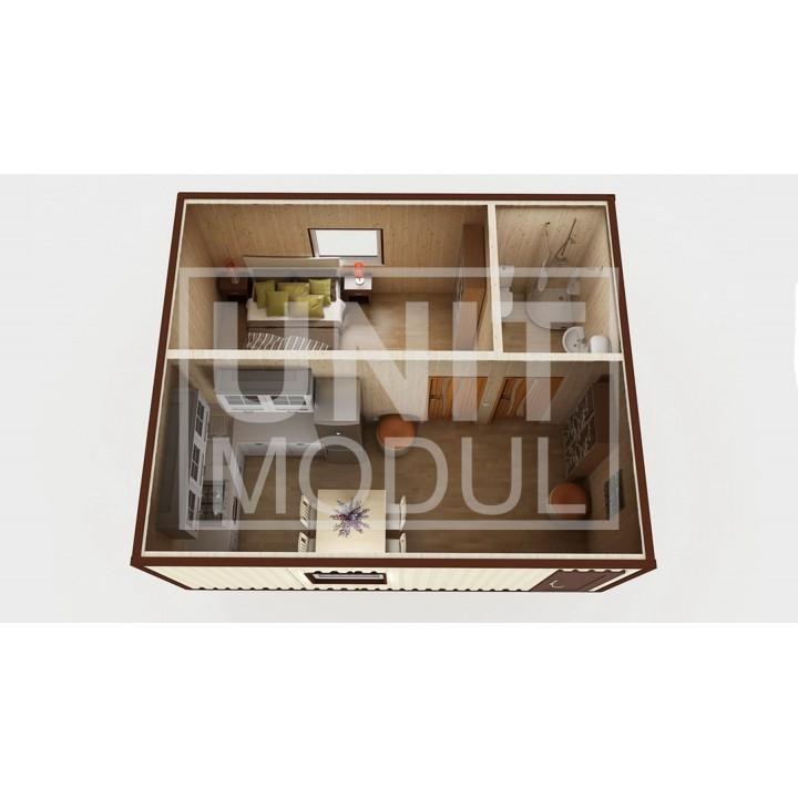 (МД-01) Модульный дом дачный из 2-х бытовок (блок-контейнеров) c душевой, спальней и комнатой отдыха недорого